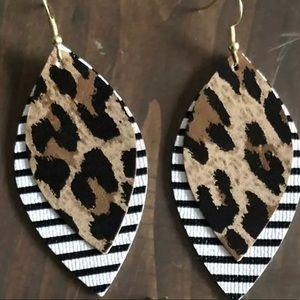 Brand new!!!  Faux leather leopard earrings